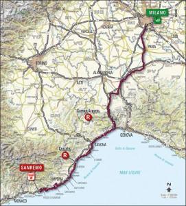 Mapa Milán - Sanremo
