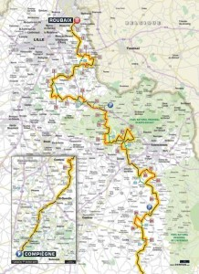 Mapa závodu Paříž - Roubaix 2015