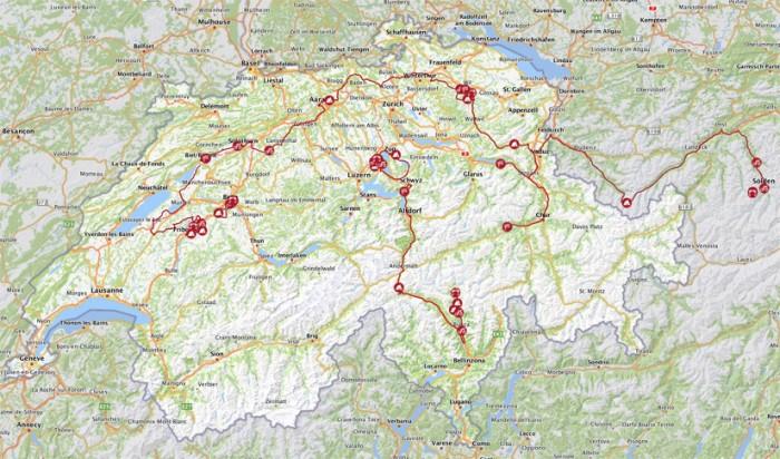 """Mapa švajčiarskeho """"výletu"""""""