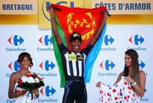 Daniel Teklehaimanot, měl určitě radost, že Purito dnes nevyhrál a podrží si svůj dres minimálně do 10. etapy