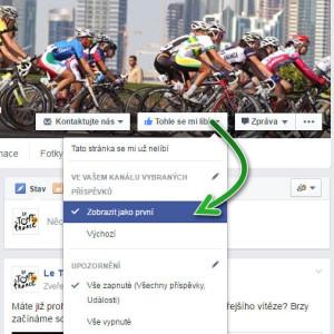Facebook zobrazit jako první