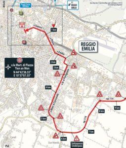 Mapa dojezdu 12. etapy Giro d'Italia 2017