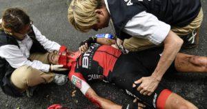 Zraněný Richie Porte - 9. etapa Tour de France 2017