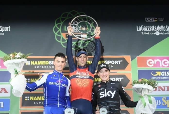 Il Lombardia - pódium 2017 - na nejvyšším stupni Vincenzo Nibali