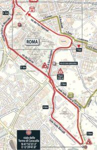 Řím - mapa dojezdu 21. etapy Giro d'Italia 2018