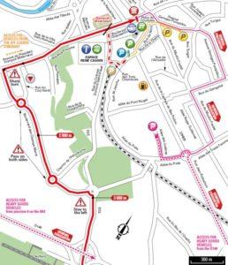 Fontenay-le-Comte - mapa závětečných kilometrů 1. etapy Tour de France 2018