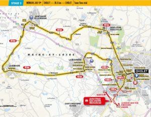 Mapa 3. etapy Tour de France 2018 (start i cíl v Cholet)