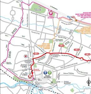 Mapa dojezdu 18. etapy Tour de France 2018 (Pau)
