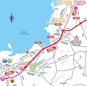 Mapa závěrečných kilometrů 4. etapy Tour de France 2018 (Sarzeau)