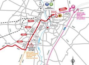 Mapa závěrečných kilometrů 7. etapy Tour de France 2018 (Chartres)