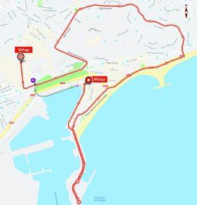 Mapa 1. etapy Vuelty 2018 (Málaga)