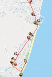 Mapa dojezdu 5. etapy Vuelty 2018 (Roquetas de Mar)