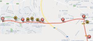 Mapa závěrečných kilometrů 3. etapy Vuelty 2018 (Alhaurín de la Torre)