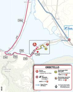 Mapa dojezdu 3. etapy Giro d'Italia 2019 (Orbetello)