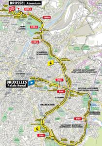 Mapa 2. etapy Tour de France 2019 (Brusel, týmová časovka)