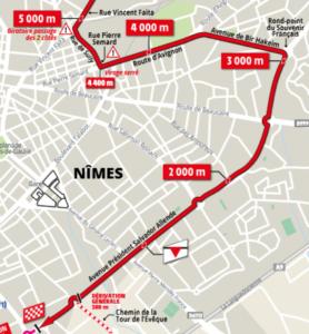 Mapa dojezdu 16. etapy Tour de France 2019 (Nîmes)