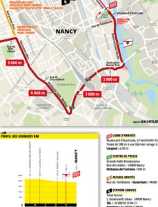 Mapa závěrečných kilometrů 4. etapy Tour de France 2019 (Nancy)