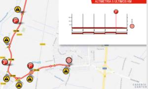 Mapa a profil dojezdu 4. etapy Vuelty 2019