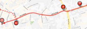 Mapa dojezdu 14. etapy Vuelty 2019 (Oviedo)