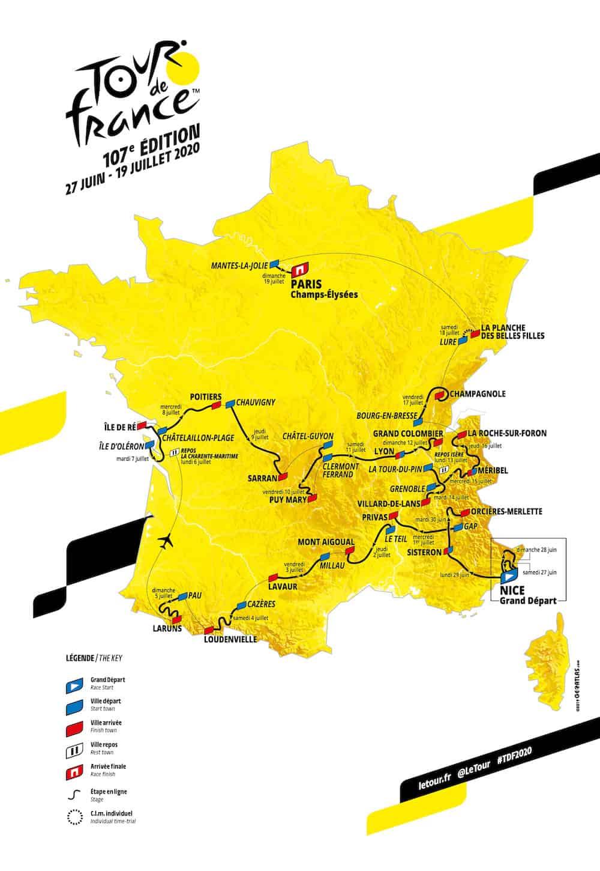 Mapa Tour de France 2020