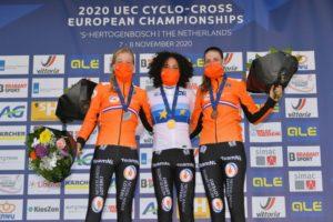 Pódium mistrovství Evropy v cyklokrosu žen Annemarie Worst, Ceylin Alvarado, Lucinda Brand