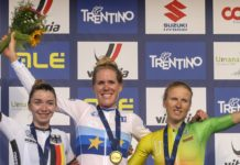 Ellen van Dijk, Liane Lippert, Rasa Leleivytė – pódium silničního závodu žen na mistrovství Evropy 2021